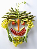 Fruit and vegetables in the shape of a face