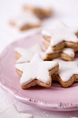 Star-shaped shortbread cookies with icing