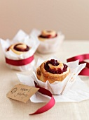 Redcurrant jelly pastry rolls