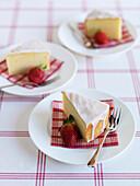 Yoghurt cake coated with icing sugar