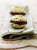 Pistachio macaroons with chocolate filling
