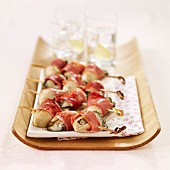 Oyster and Bayonne ham brochettes