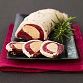 Duck roast stuffed with foie gras