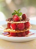 Crunchy raspberry Mille-feuille