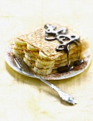 Pancake,banana and chocolate Mille-feuille