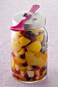 Jar of fruit salad