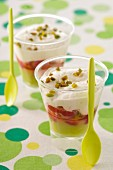 Strawberry,pistachio and cream desserts