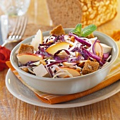 Red cabbage, apple, tofu and crouton salad