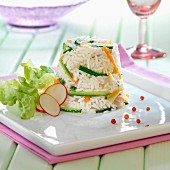 Long grain rice and vegetable timbale