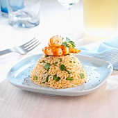 Cold rice and shrimp timbale