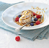 Stracciatella ice cream with oats and summerfruit