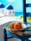 Stuffed tomatoes on a terrace in Greece