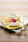 Cream cheese, crab and sesame seed terrine