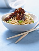 Rice noodles with caramelized pork