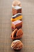 Row of chocolate Petit fours
