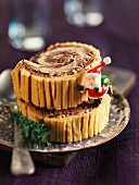 Two slices of Christmas log cake