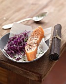 Salmon and red cabbage salad,cream and chive sauce
