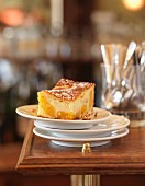 Portion of apricot batter pudding