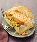 Salmon steak and cabbage cooked in filo pastry