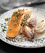 Piece of salmon stuffed with hazelnuts