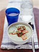 Cream of zucchini soup with trout