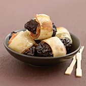 Agen prunes wrapped in filo pastry