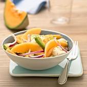 Haut Poitou melon,mozzarella and avocado salad