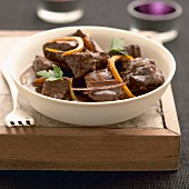 Bourbonnais beef stew with orange rinds
