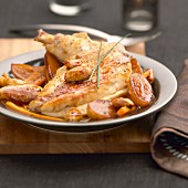 Ancenis chicken with potatoes,almonds and carrots