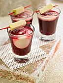Coconut milk,beetroot,celery and apple drink