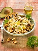 Pasta with mushrooms,avocado,walnuts and poppy seeds