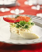 Crab,celeriac and lobster Timbale