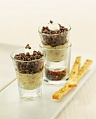 Eggplant caviar and lentil Verrines