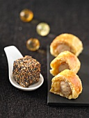 White sausage flaky pastry rolls,ham cube coated with seeds