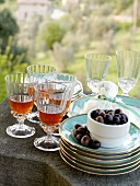 Glasses of Chianti and olives for apperitif,Toscany