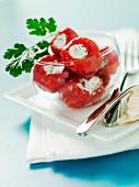 Gefüllte rote Paprika mit Frischkäse
