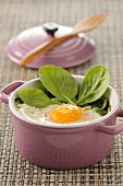 Coddled egg with spinach