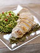 Chicken breast with bulghour and pesto
