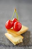 Financier and cherries