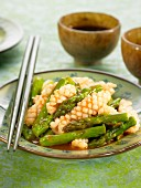 Calamaries with asparagus, ginger and rice wine sauce