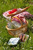Picnic basket in the grass and meat to be barbecued