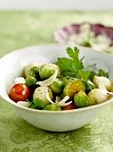 Brussels sprouts,cherry tomato ,onion and parmesan salad