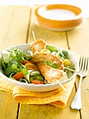 Mixed salad with crisp chicken skewers