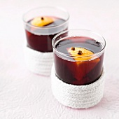 Hot spicy wine with orange and cloves