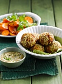 Chicken and oat meatballs,cream of sesame seeds