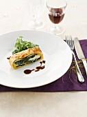 Portobello Wellington, spinach and mushroom flaky pastry pie