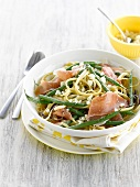 Linguinis with green beans,proscuitto and pecorino