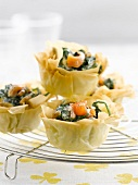 Spinach and smoked salmon filo pastry tartlets