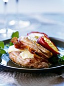 Pheasant with mozzarella and caramelized apples
