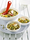 Wheat salad with dried apricots,pistachios,apple and mint
